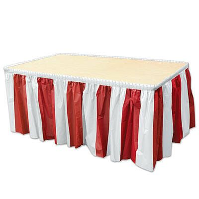 Red and White Table Skirt Decor/ Circus Party Decor/ Circus Birthday Party Decor/ Red and White Striped Table Skirt by FancyCelebration on Etsy https://www.etsy.com/au/listing/550764580/red-and-white-table-skirt-decor-circus