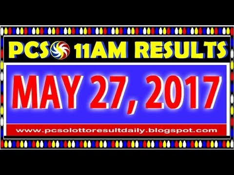 PCSO MidDay - 11AM Results May 27, 2017 (SWERTRES & EZ2)