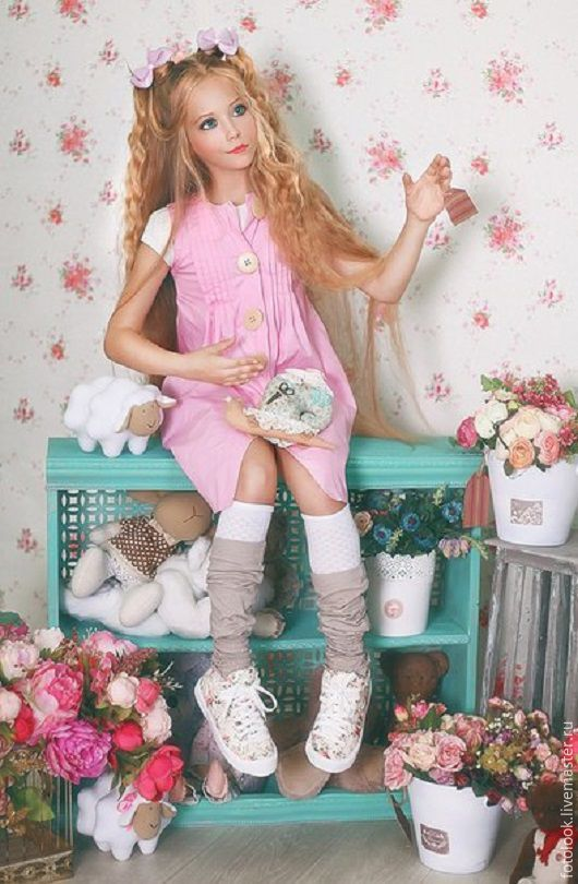 """Купить платье для фотосессии в стиле """" куклы"""" - розовый, однотонный, платье для девочки, платье на заказ"""