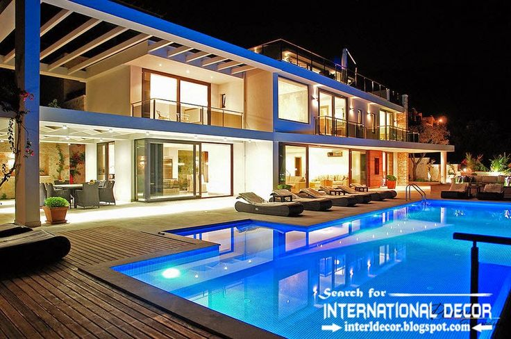 Modern Designs Of Luxury Villa With Swimming Pool And Lighting Ideas,  Beautiful And Comfort