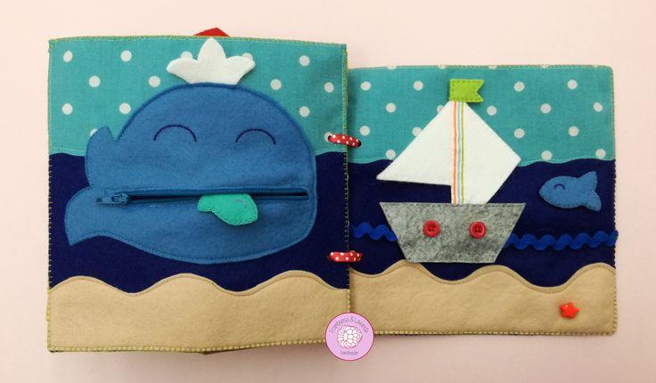 #libro #sensorial #actividades #bebe #infantil #juegos #juguetes #baby #handmade #hechoamano #telas #fabrics #fieltro #ballena #peces #barco #playa
