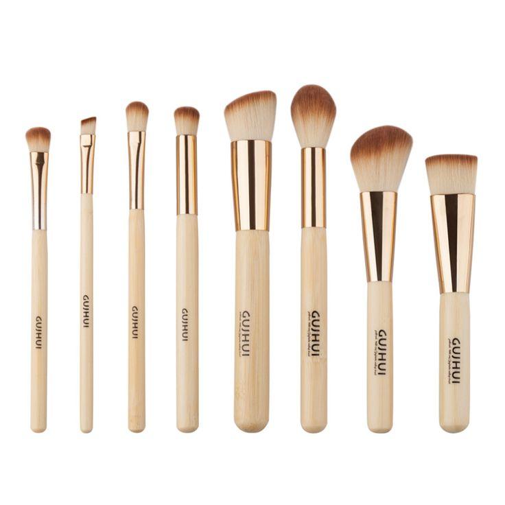 8 pz professionali d'oro tube bamboo pennelli trucco del viso trucco quotidiano strumenti di capelli sintetici