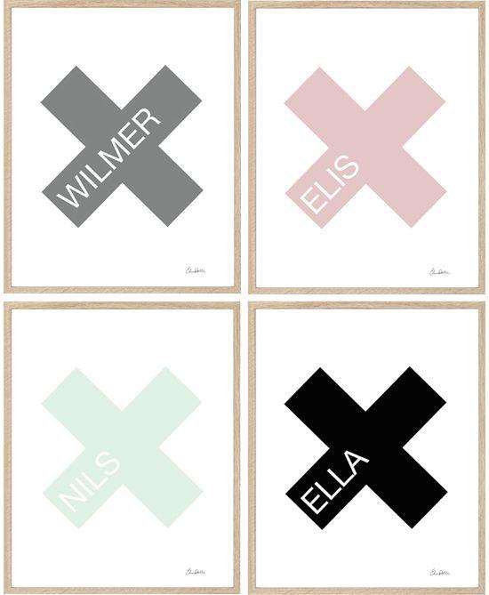 Elina Dahl, namntavla/namnprint, barnrum, nameprint  shop.elinadahl.com