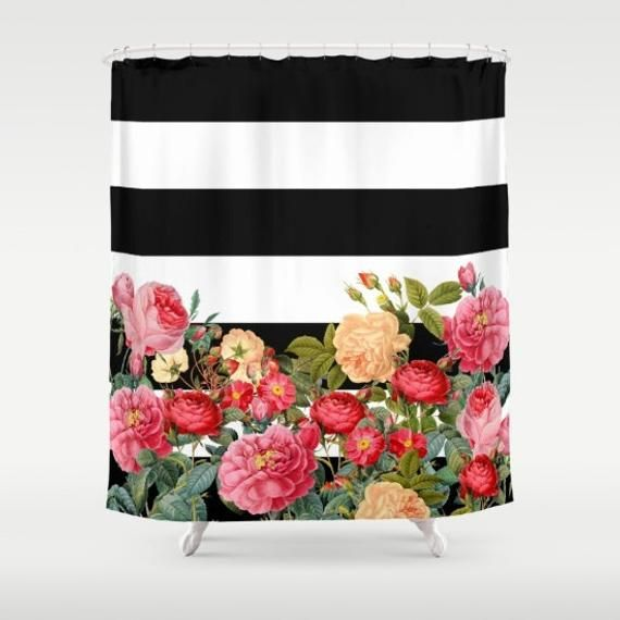 Black And White Stripe With Floral Shower Curtain Chic Designer Decor Bold Retro Roses Bathroom Modern Home Decor Floral Shower Curtains Floral Shower Designer Shower Curtains