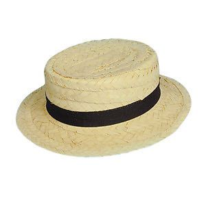 STRAW BOATER (CHEAP) FANCY DRESS PARTY HEN STAG HALLOWEEN HAT