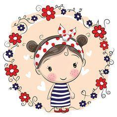 Cute Cartoon Girl and flowers - ilustração de arte em vetor