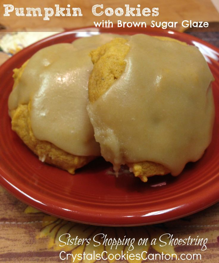Pumpkin Cookie with Brown Sugar Glaze  The cookie produces a soft cake-like cookie, and the brown sugar glaze is a nice break from the normal cream cheese icing that most pumpkin cookie recipes call for. This gem is truly one of my favorites, and I hope you all enjoy them as much as we do!  - http://www.sistersshoppingonashoestring.com/pumpkin-cookies-recipe-brown-sugar-glaze