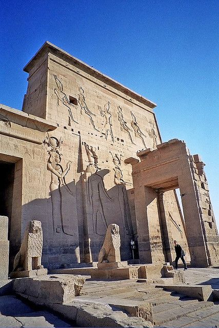 Entrance pylons of the Temple of Isis at Philae, Aswan, Egypt