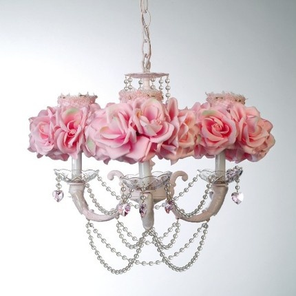 Adorable chandelier; sweet for a girl's room or a grown up girl's room