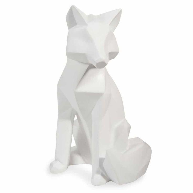 Statuette renard blanc H 26 cm FOX ORIGAMI