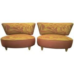 Whimsical Pair of Gilbert Rohde Style 1940s Slipper Chairs Mid-Century Modern