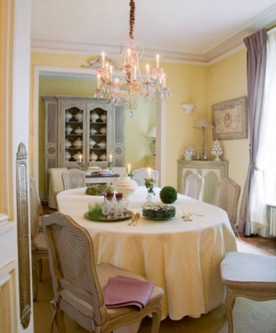 French Country Dining Room In Pastels