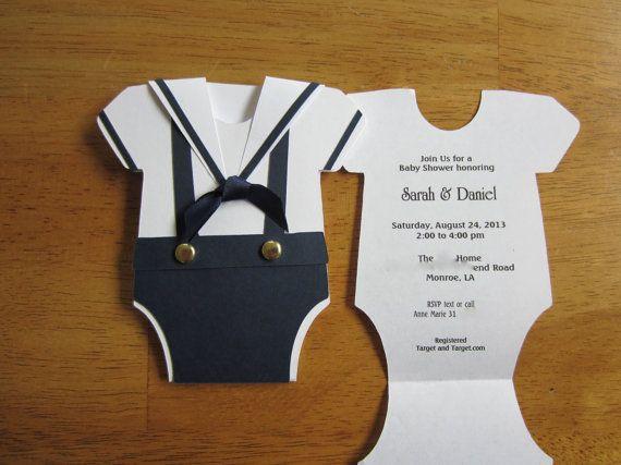 Baby-Duscheeinladung ist Matrosenanzug Strampler zu bestellen ein hübsch Weg, um Ihre Party geht. Der Seemann Kragen hebt sich, so können Sie
