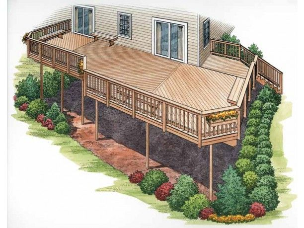 deck ideas for two story homes leading to pool | Deck Plan from Dream Home Sourc… – Lori-Jo Dolfi-Stange