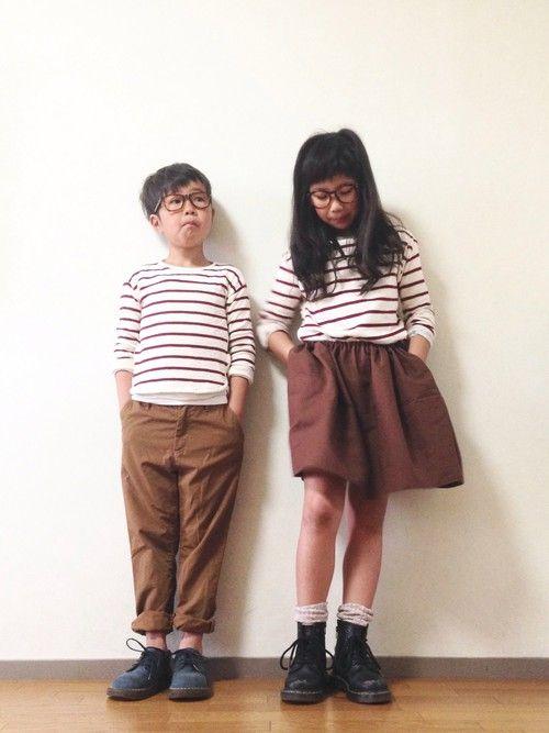 娘コーデ。  スカート:handmade  靴下:3coins ムスコーデ。  靴下:old nav
