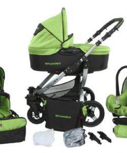 True-Love-Grander-Kinderwagen-Komplettset-Autositz-Adapter-Regenschutz-Moskitonetz-Schwenkrder-0