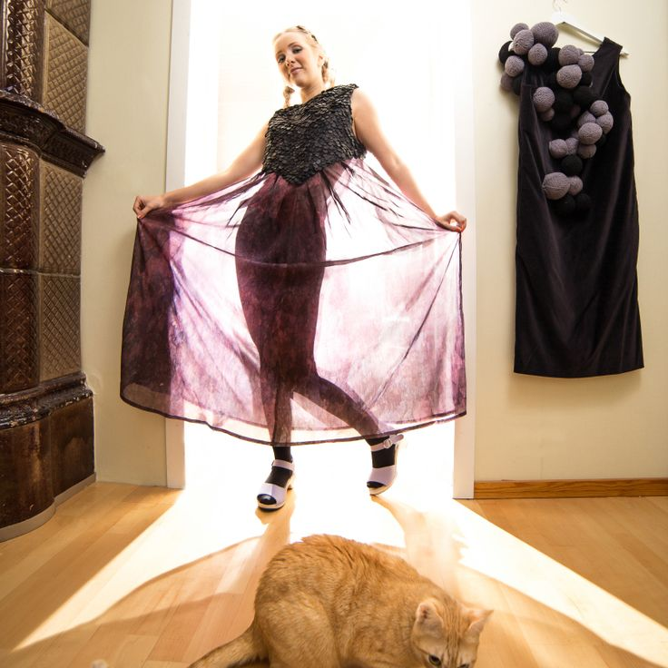 Hand knitted ball dress and leather silk dress. And sulo-cat