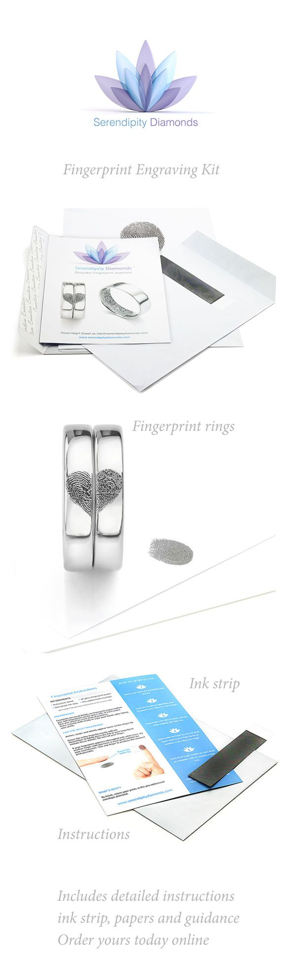Fingerprint engraving kit from Serendipity Diamonds. Start by purchasing the kit, refunded against a wedding ring order, or receive free of charge when you order your bespoke fingerprint wedding rings with Serendipity Diamonds.