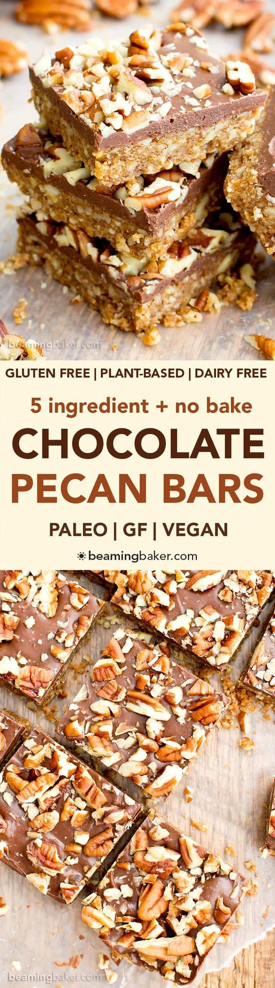 No Bake Paleo Chocolate Pecan Bars (V, GF, Paleo): a 5-ingredient, no bake recipe for deliciously textured pecan bars topped with a thick layer of chocolate and nuts. #Paleo #Vegan #GlutenFree #DairyFree | BeamingBaker.com