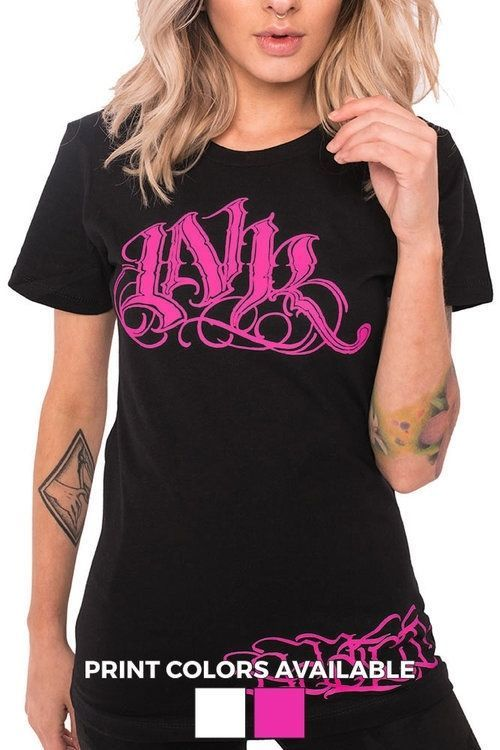 Ink Addict Women'S Ink Meas Script T-Shirt Pink Or White