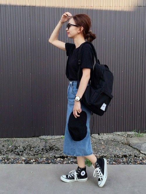 mao♡さんの「Ray-Ban RB2180F サングラス RB2180F49601/71(Ray-Ban)」を使ったコーディネート デニムスカート outfit denim skirt coordinate #ootd styling style
