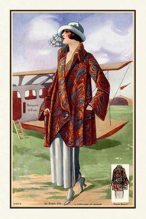 Gorgeous Art Deco French Fashion Design Model in Paisley Coat and Hat by Bourget at Paris Airport Plane 1923 Giclee Fine Art Print 12x18