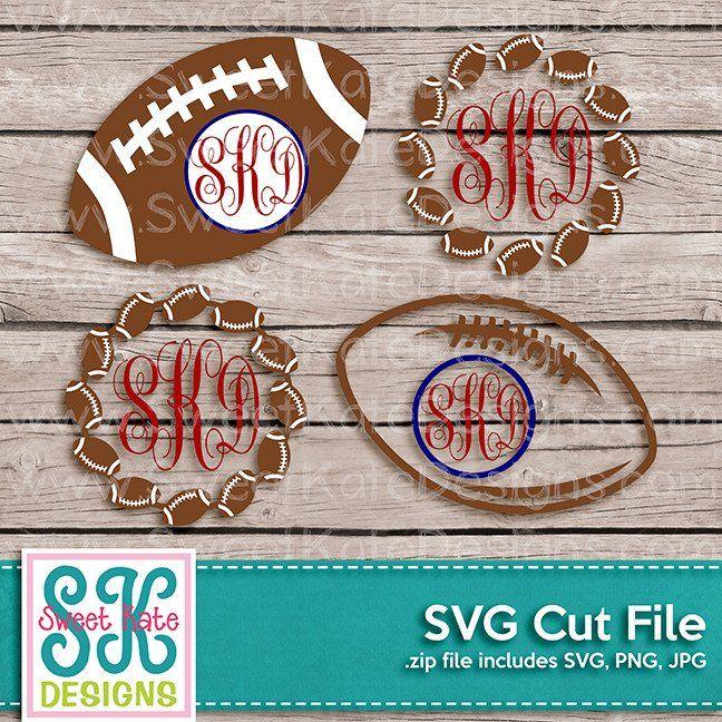 Football Monograms SVG DXF EPS PNG JPG Monogram svg, Svg