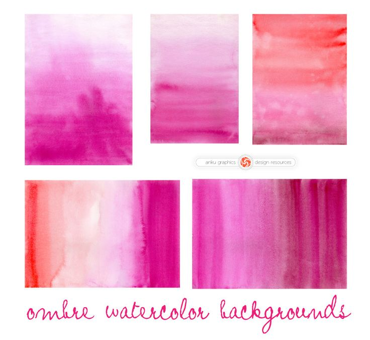OMBRE WATERCOLOR overlays for instant download, graded watercolor wash, pink-red watercolor backgroud, pink red gradient by ankugraphics on Etsy
