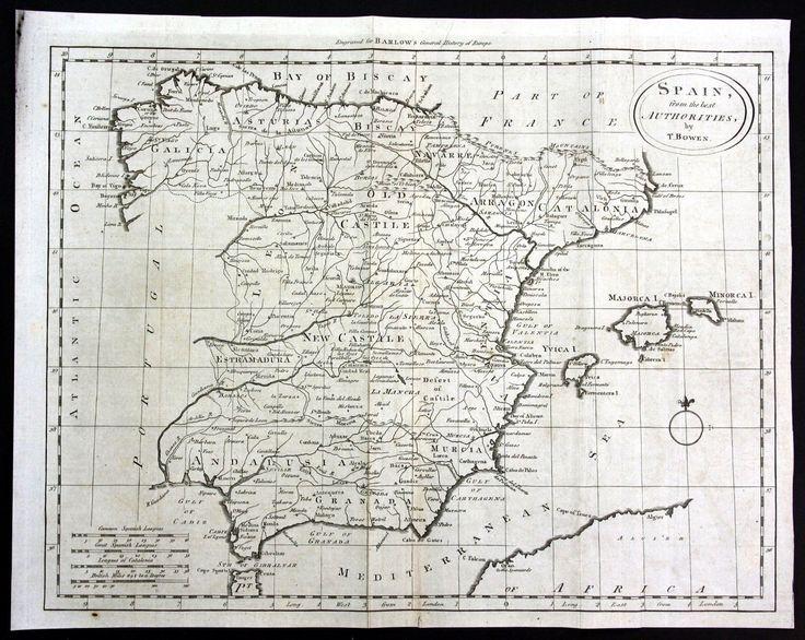 1790 españa SPAIN españa Murcia Granada mapa Map grabado engraving