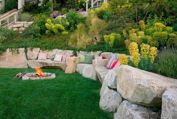 big boulder retaining wall/seating