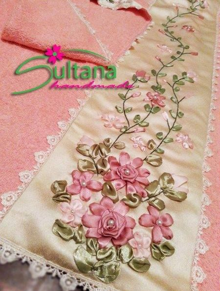 Handmade embroidery with silk ribbons  for more visit https://www.facebook.com/sultanahandmade