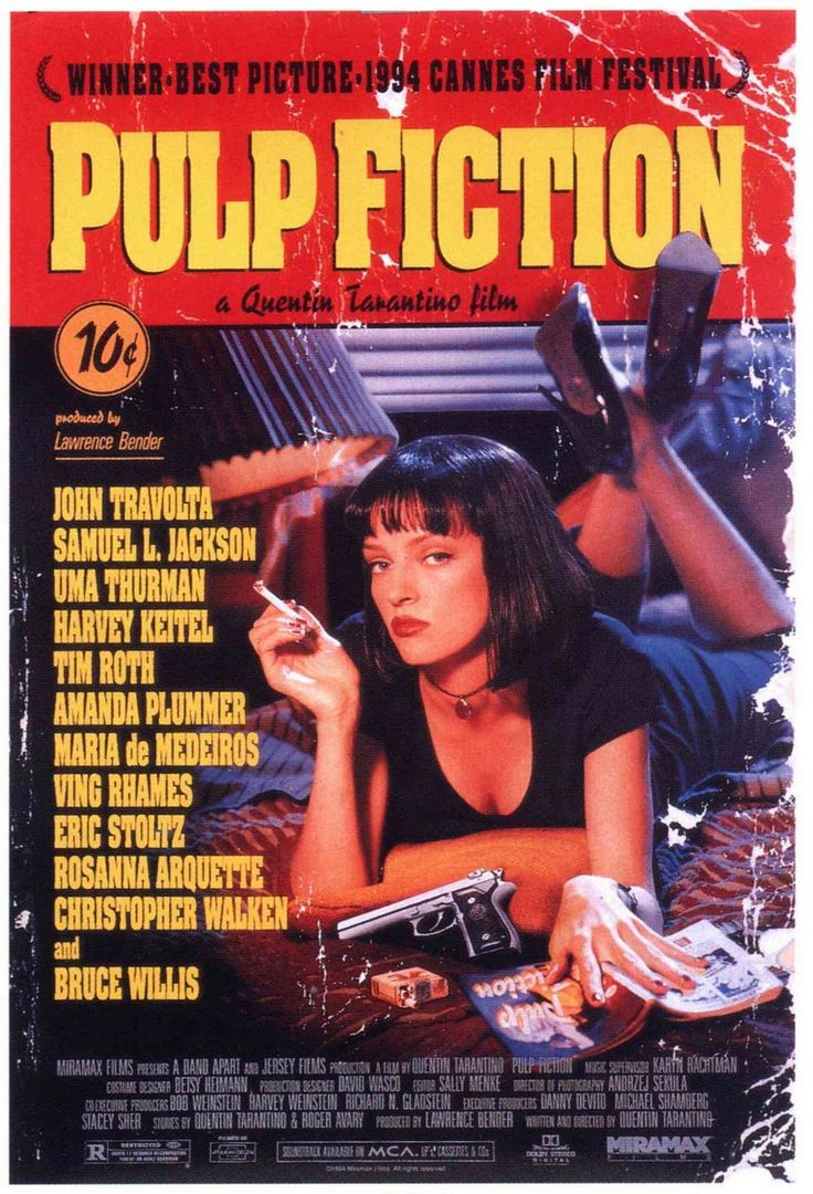 """Pulp Fiction""  1994  Directed by: Quentin Tarantino  Crime / Crime Comedy / Ensemble Film / Gangster Film"