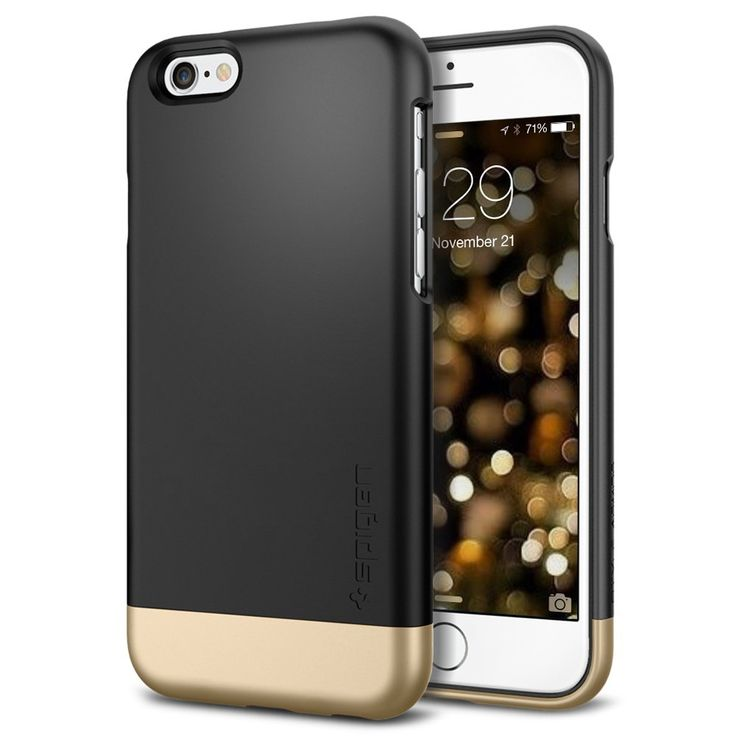 Amazon.com: iPhone 6 Case, Spigen® [Safe Slide] iPhone 6 (4.7) Case Protective [Style Armor] [Mint] SOFT-Interior Scratch Protection  Color: Black and Gold (Style Smooth Black)
