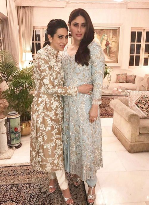 Karisma and Kareena Kapoor Khan at Randhir Kapoor's 70th Birthday Do : Both sisters looked beautiful wearing Manish Malhotra with silver shiny shoes and pretty hairdos. Minimalist and elegant!  PS - Kareena is wearing Saint Laurent shoes.
