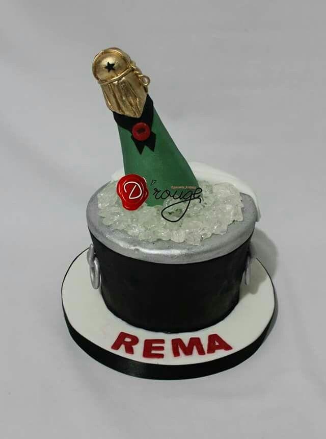 Torta botella de champagne 100 % Comestible.