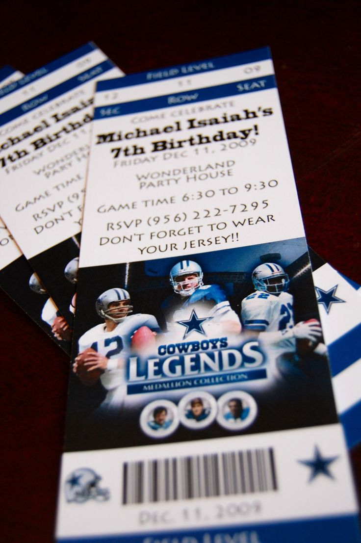 Dallas Cowboys Ticket Invitations - NFL Ticket Invitation - NBA Ticket Invitation by BirthdayPartyBox on Etsy https://www.etsy.com/listing/167624936/dallas-cowboys-ticket-invitations-nfl