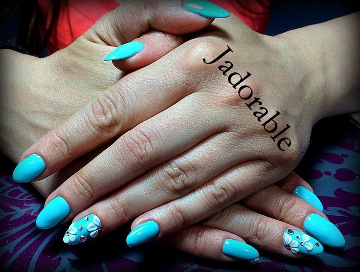 Turquoise with acrylic flowers!!
