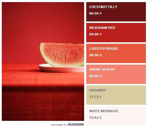Fruit fiesta: watermelon-inspired swatch colours from Plascon http://plascontrends.co.za/summer-food-colour-inspiration-swatch-style/ #palette #summer