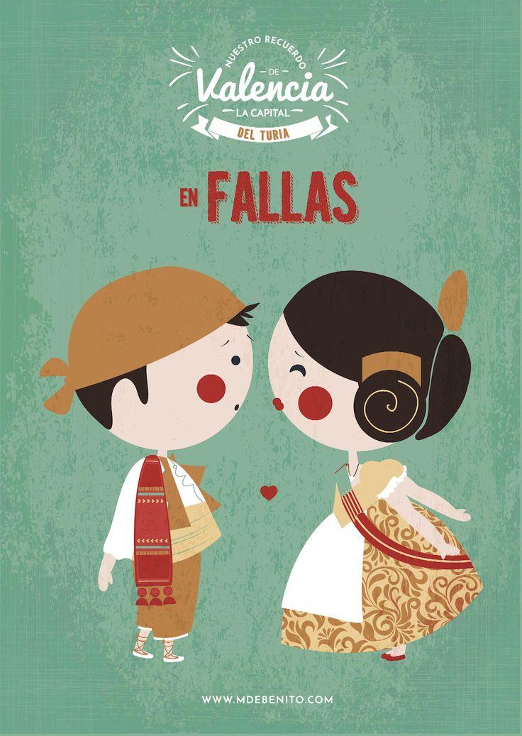 ilustracion Valencia fallas gallero illustration Spain