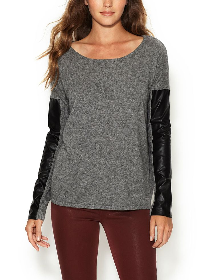 Silk Cashmere Sweater with Leather Sleeve Panels