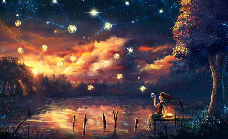 Fantastische Welt Teich Himmel Bäume Mädchen Nacht Fantasy Natur Mädchens