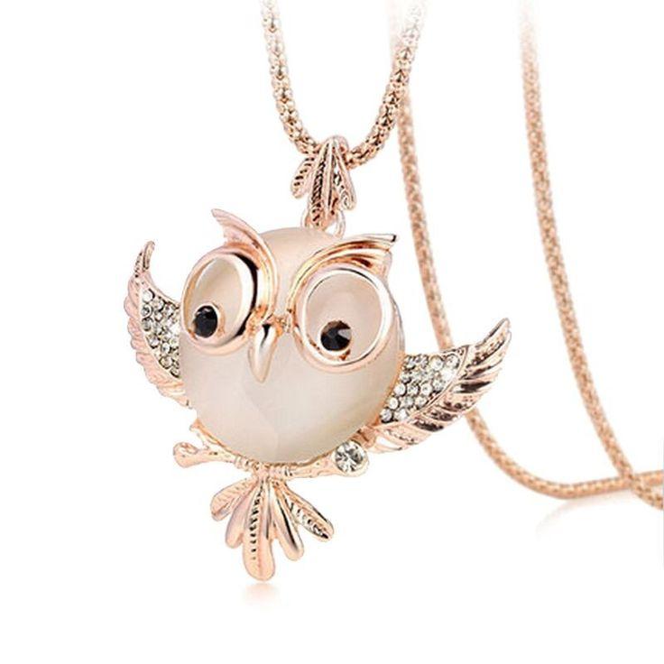 Chubby Owl Rhinestone Crystal Long Chain Necklace & Pendant