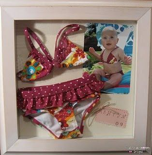 "Memory Box...should do this with the kids ""going home"" outfits!  Wish I still had her first swimsuit...I would love to do that!  :)"