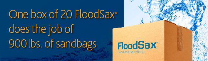 Build higher / taller flood protection flood barrier walls with FloodSax sandless sandbags - #1 Best Selling Sandbag Alternatives