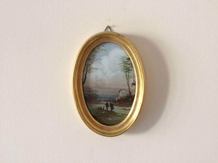 Vintage cornice dorata / Piccola pittura paesaggistica / Vintage pittura di paesaggio /  Ritratto di uomini a riva di un fiume / Idea regalo di VintaFai su Etsy