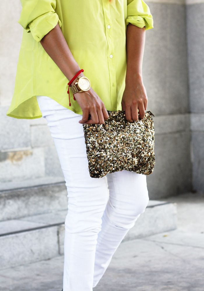 Look how much a blingy bag dresses up white jeans and a simple top.