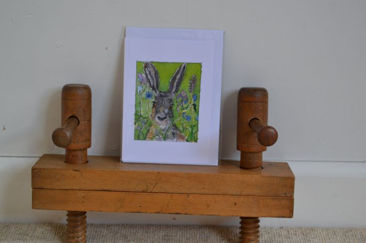 Green Hare:  A6 Card with envelope by sarahNetLtd on Etsy