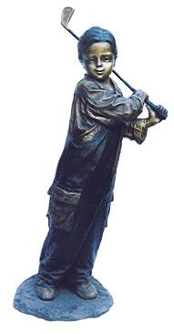 Life Size Young Boy Golfer In Bronze Suitable For Outdoor Garden  Use Sculpture Statue