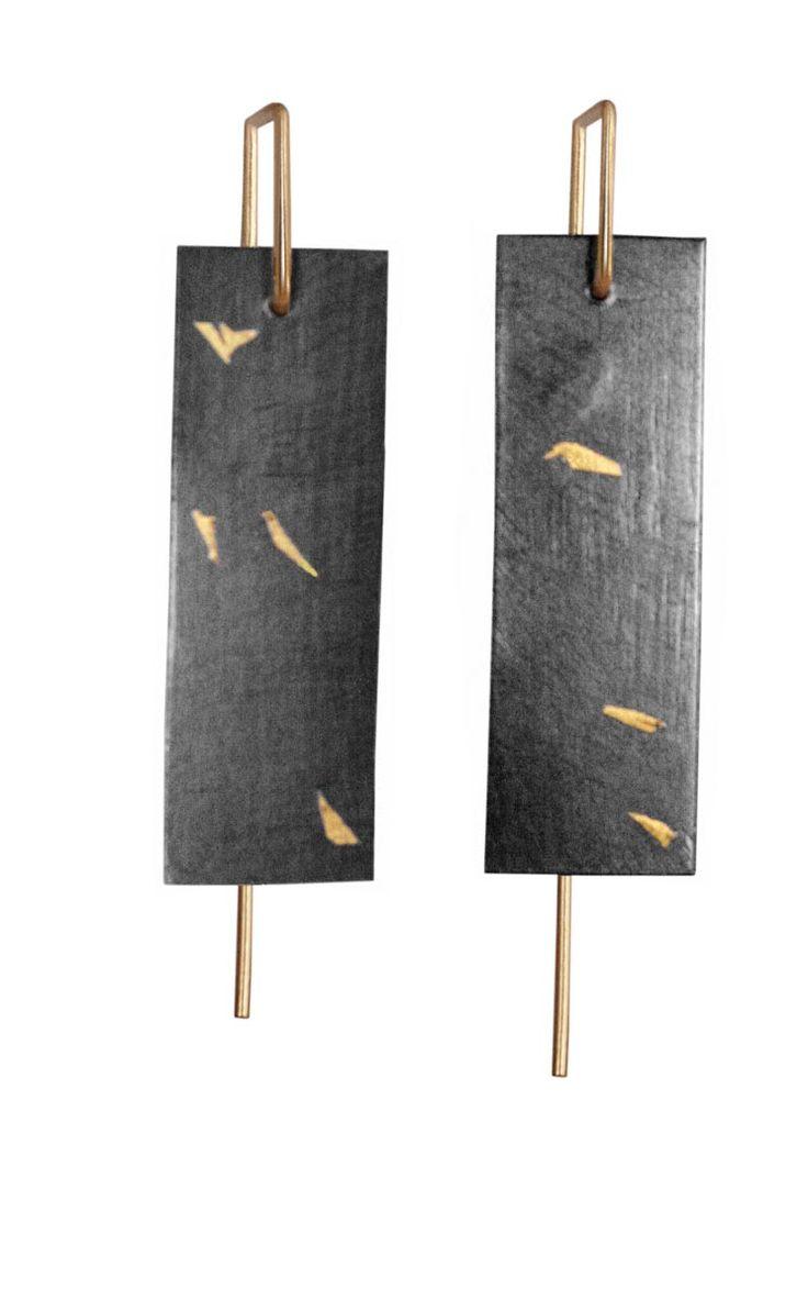 "Anne Bulmer Brewer Studio, ""Kakejiku 3"" Earrings Fine Silver, 22K Gold, 14K Keum Boo, Fabrication, Patina"
