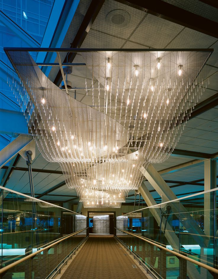 Entrance pedway at The Fairmont Vancouver Airport.  Crystals represent flowing water.